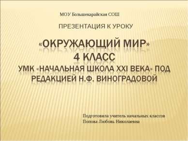 ПРЕЗЕНТАЦИЯ К УРОКУ Подготовила учитель начальных классов Попова Любовь Никол...