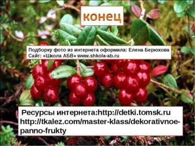 Ресурсы интернета:http://detki.tomsk.ru http://tkalez.com/master-klass/dekora...