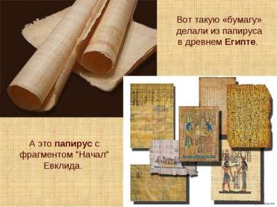 Вот такую «бумагу» делали из папируса в древнем Египте. А это папирус с фрагм...