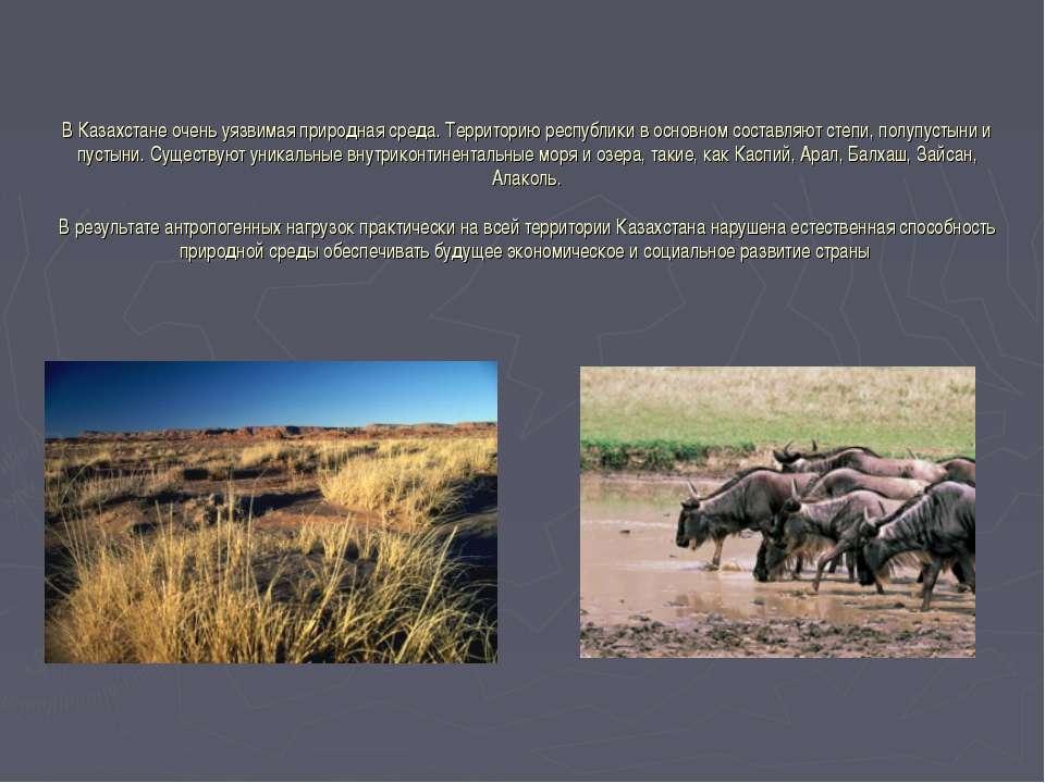В Казахстане очень уязвимая природная среда. Территорию республики в основном...