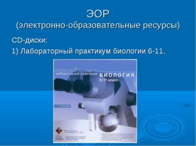 ЭОР (электронно-образовательные ресурсы) СD-диски: 1) Лабораторный практикум ...