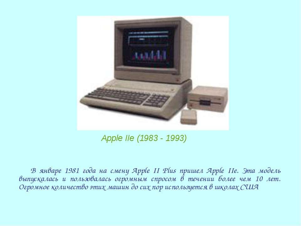 В январе 1981 года на смену Apple II Plus пришел Apple IIe. Эта модель выпуск...