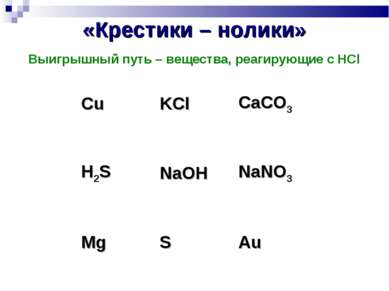 «Крестики – нолики» Выигрышный путь – вещества, реагирующие с HCl Cu KCl CaCO...