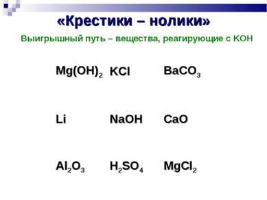«Крестики – нолики» Выигрышный путь – вещества, реагирующие с KOH Mg(OH)2 KCl...