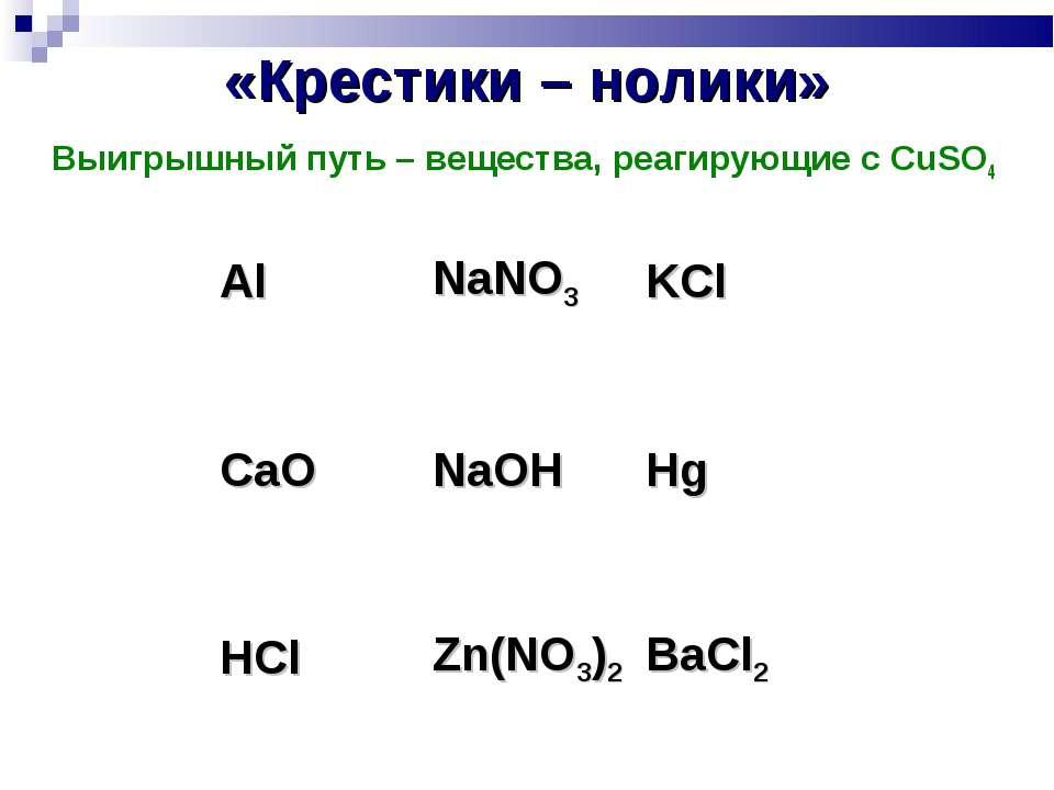 «Крестики – нолики» Выигрышный путь – вещества, реагирующие с CuSO4 Al NaNO3 ...