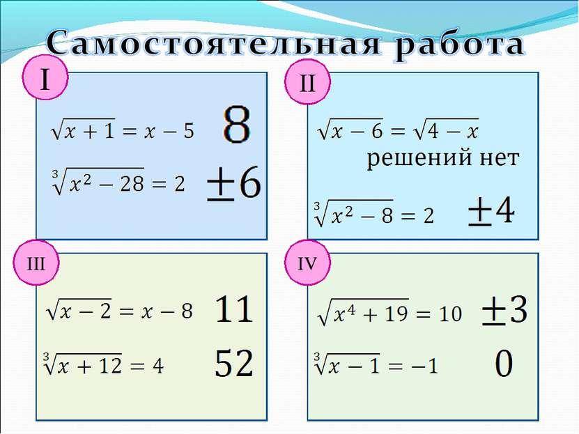 I III II IV