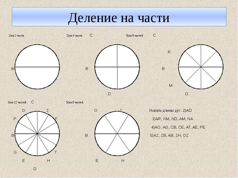 Деление на части 1)на 2 части 2)на 4 части С 3)на 8 частей С R K В А В А В A ...