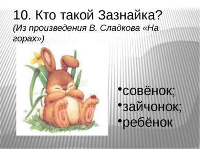 10. Кто такой Зазнайка? (Из произведения В. Сладкова «На горах») совёнок; зай...