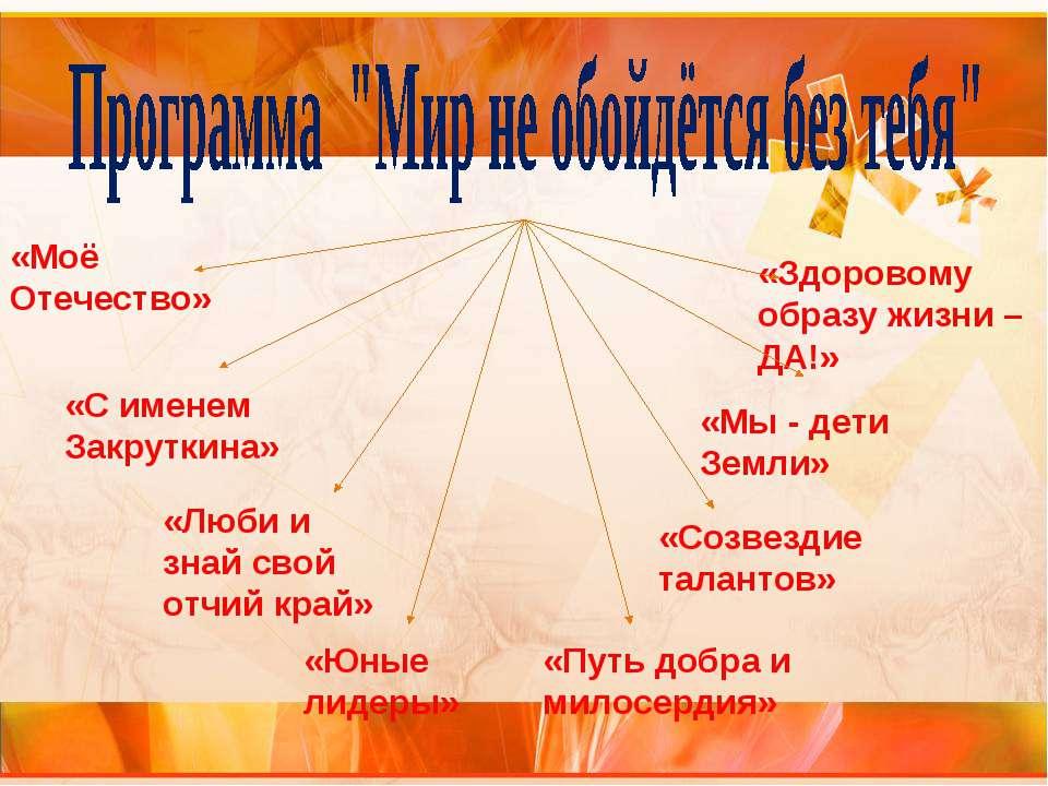 «Моё Отечество» «С именем Закруткина» «Люби и знай свой отчий край» «Юные лид...
