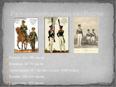 Пехота: 360-380 тысяч Конница: 60-70 тысяч Артиллерия: 35—40 тыс. солдат, 160...