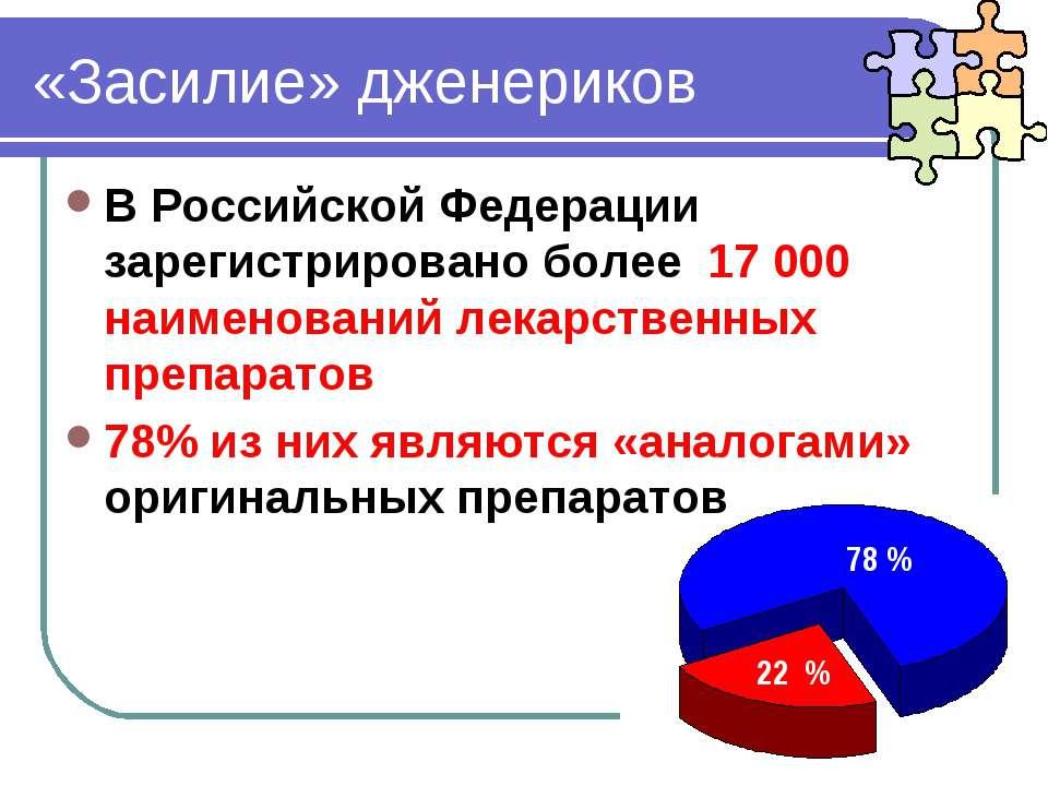 «Засилие» дженериков В Российской Федерации зарегистрировано более 17 000 наи...