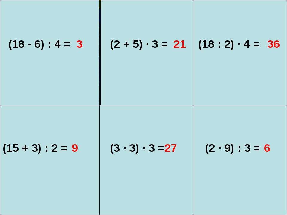 (18 - 6) : 4 = 3 (2 + 5) ∙ 3 = 21 (18 : 2) ∙ 4 = 36 (15 + 3) : 2 = 9 (3 ∙ 3) ...