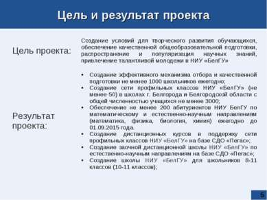 * Цель и результат проекта   Цель проекта: Создание условий для творческого...
