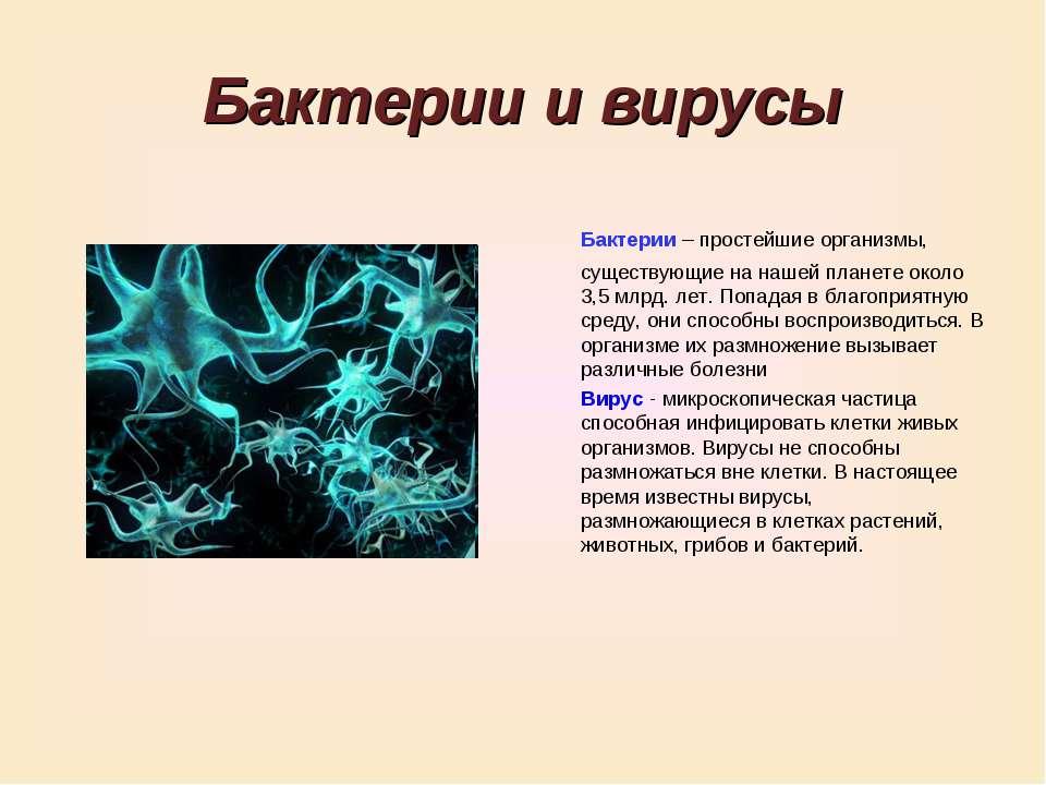 Бактерии и вирусы Бактерии – простейшие организмы, существующие на нашей план...
