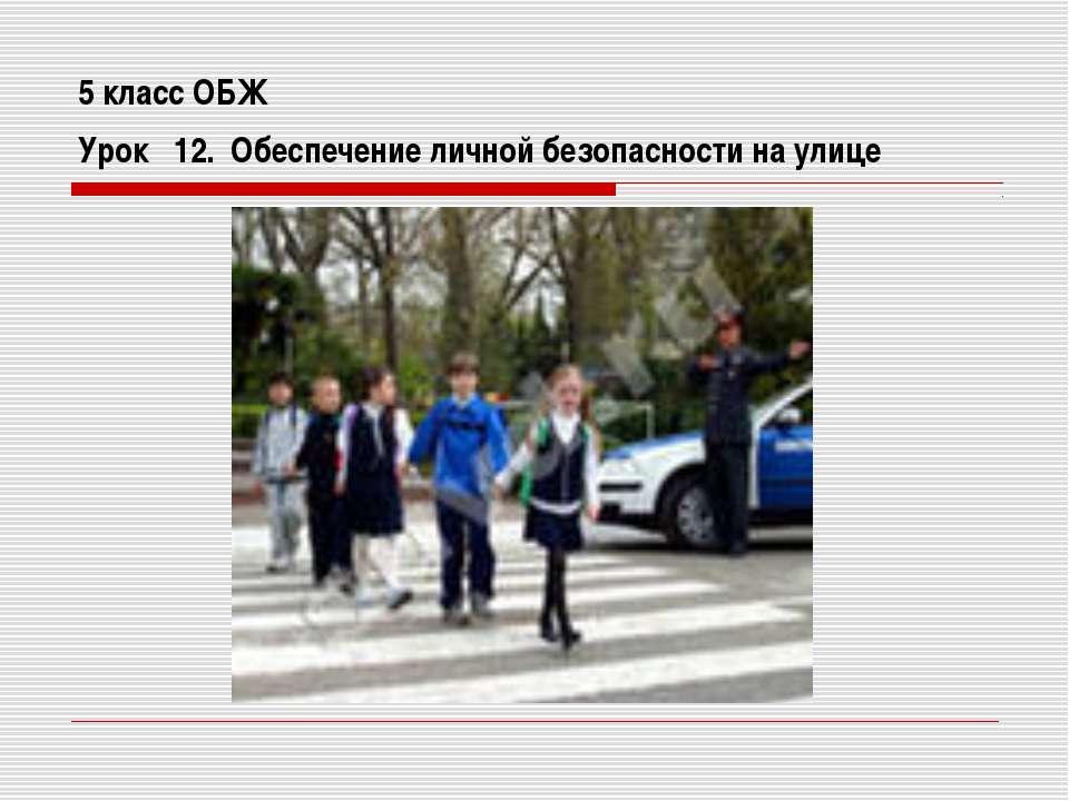 5 класс ОБЖ Урок 12. Обеспечение личной безопасности на улице