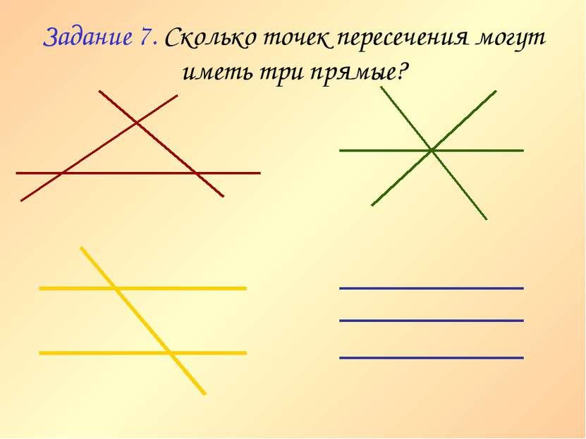 Задание 7. Сколько точек пересечения могут иметь три прямые?