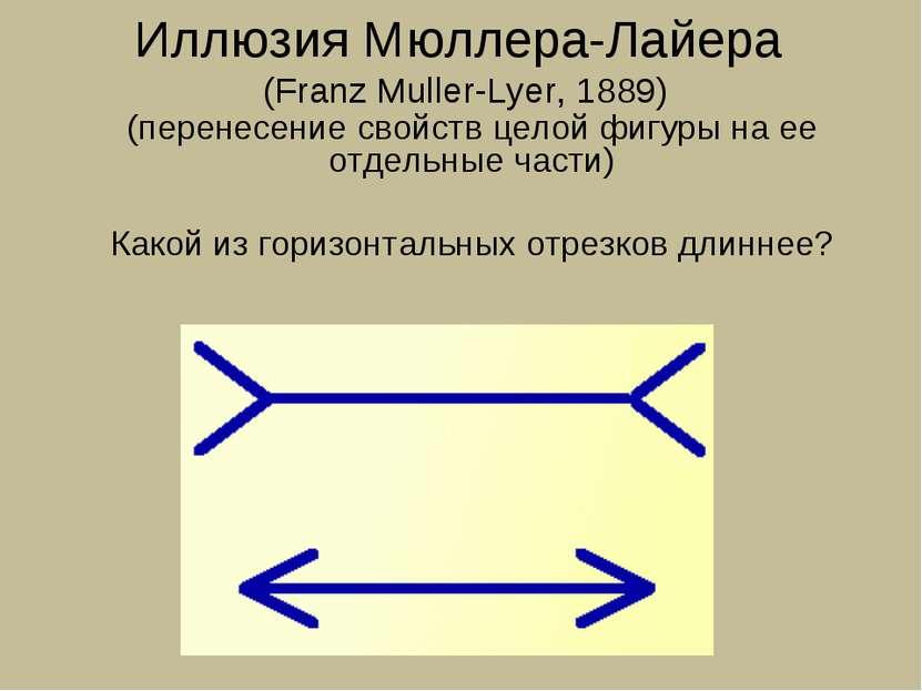 Иллюзия Мюллера-Лайера (Franz Muller-Lyer, 1889) (перенесение свойств целой ф...