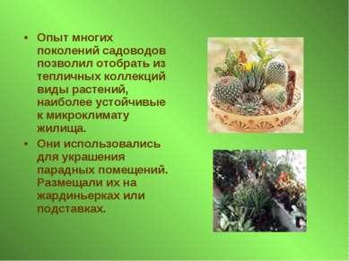 Опыт многих поколений садоводов позволил отобрать из тепличных коллекций виды...