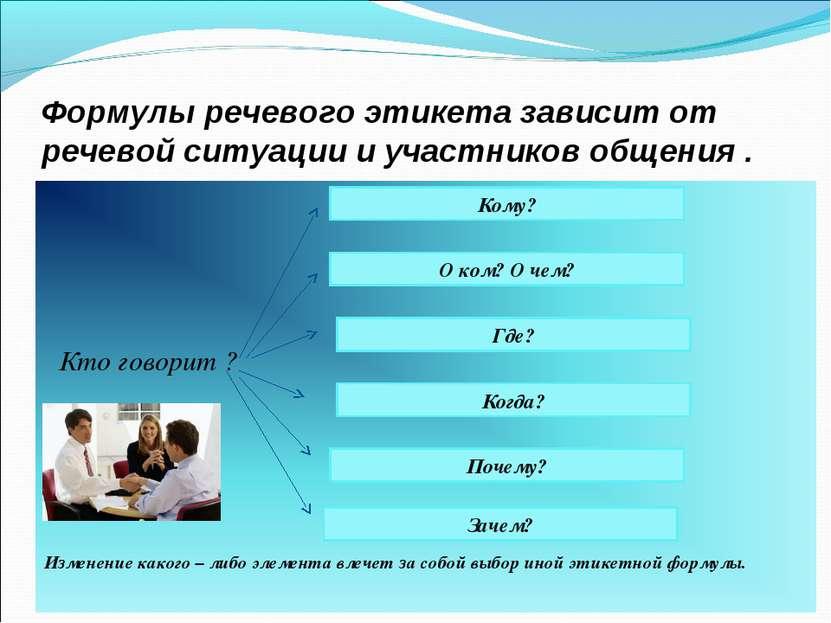 Формулы речевого этикета зависит от речевой ситуации и участников общения . К...