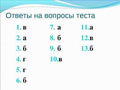 Ответы на вопросы теста в а б г г б а б б в а в б
