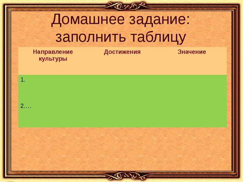 Домашнее задание: заполнить таблицу Направление культуры Достижения Значение ...