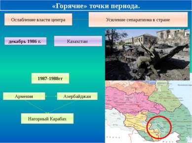 «Горячие» точки периода. Ослабление власти центра Усиление сепаратизма в стра...
