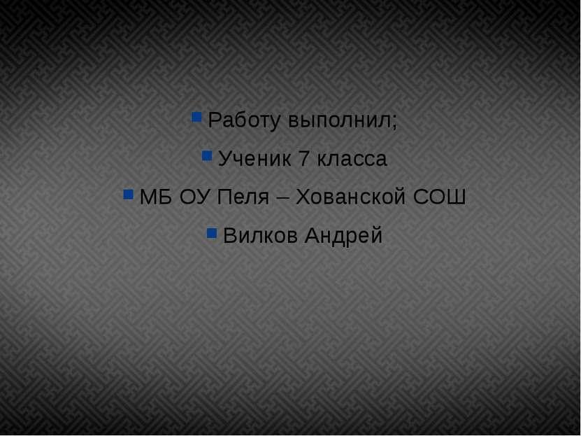 Работу выполнил; Ученик 7 класса МБ ОУ Пеля – Хованской СОШ Вилков Андрей