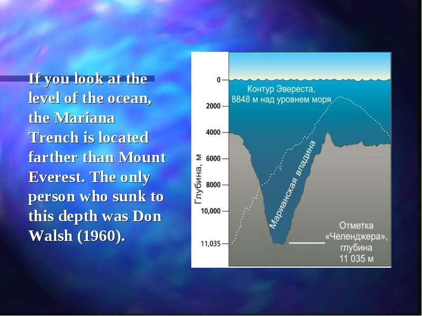 If you look at the level of the ocean, the Mariana Trench is located farther ...