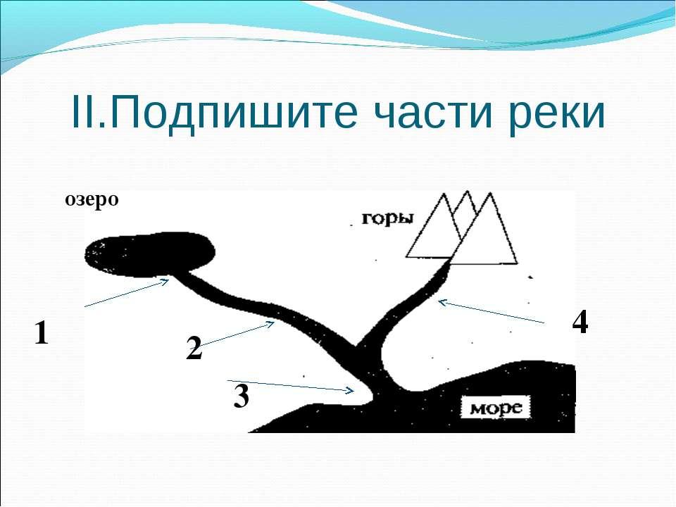 II.Подпишите части реки озеро 1 2 4 3