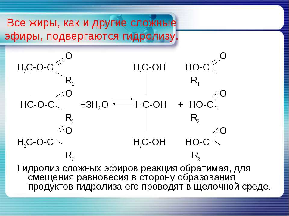 Все жиры, как и другие сложные эфиры, подвергаются гидролизу. O O H2C-O-C H2C...