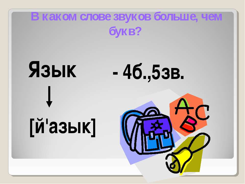 В каком слове звуков больше, чем букв? Язык - 4б.,5зв. [й'азык]