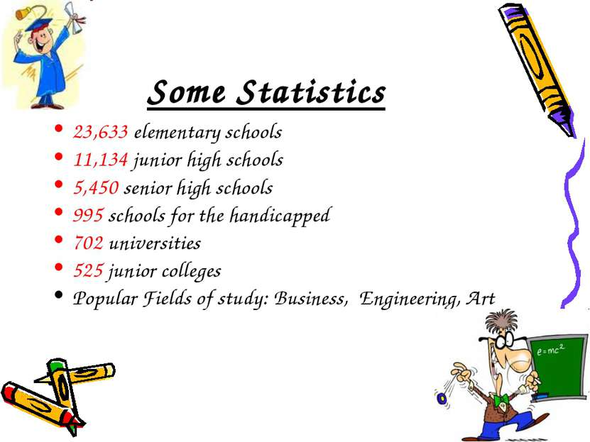 Some Statistics 23,633 elementary schools 11,134 junior high schools 5,450 se...