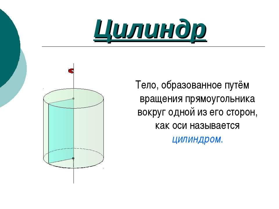Цилиндр Тело, образованное путём вращения прямоугольника вокруг одной из его ...