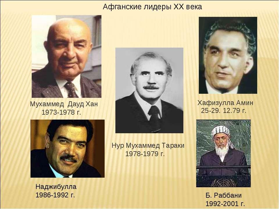 Хафизулла Амин Мухаммед Дауд Хан 1973-1978 г. Афганские лидеры XX века Нур Му...