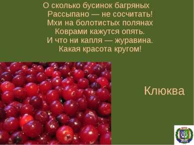 Клюква О сколько бусинок багряных Рассыпано — не сосчитать! Мхи на болотистых...