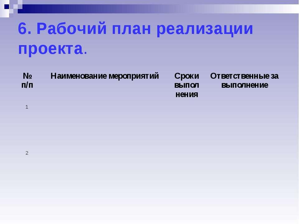 6. Рабочий план реализации проекта. № п/п Наименование мероприятий Сроки выпо...