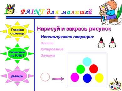 PAINT для малышей Нарисуй и закрась рисунок Используются операции: Эллипс Коп...