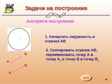 Задачи на построение Алгоритм построения А В1 А1 В 1. Начертить окружность и ...