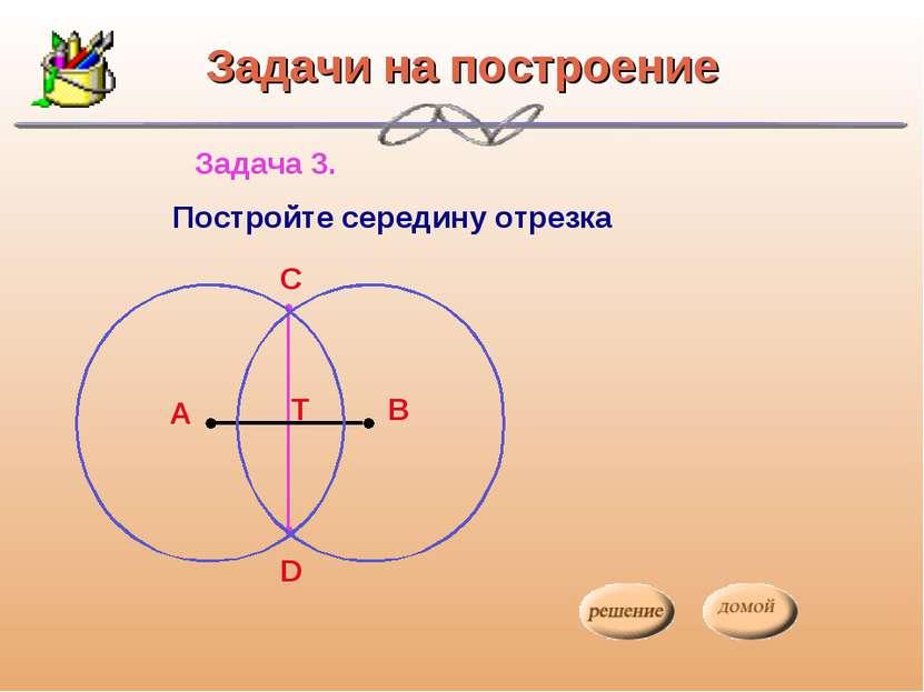 Задачи на построение Задача 3. Постройте середину отрезка Задачи на построение