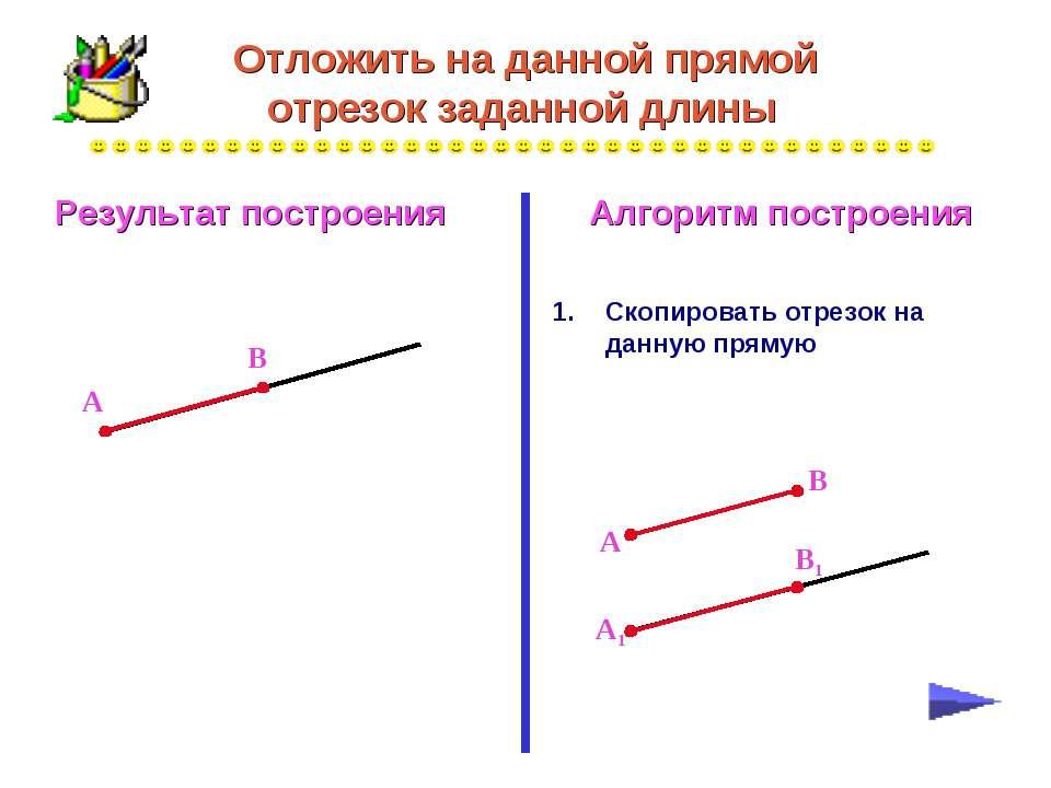 Отложить на данной прямой отрезок заданной длины Скопировать отрезок на данну...