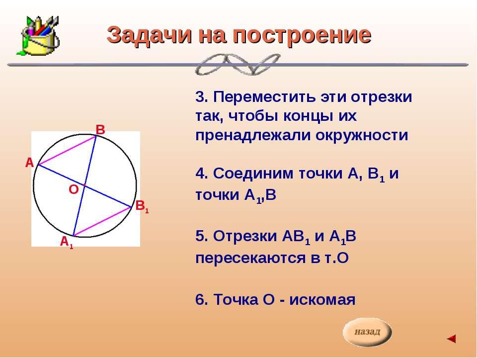 А В В1 А1 Задачи на построение 3. Переместить эти отрезки так, чтобы концы их...