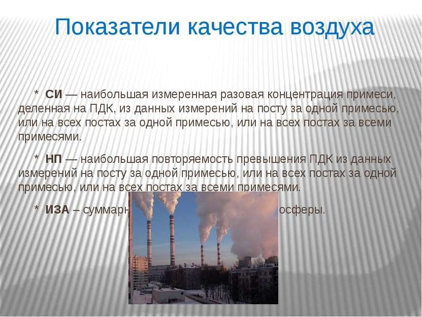 Показатели качества воздуха *СИ— наибольшая измеренная разовая концентраци...