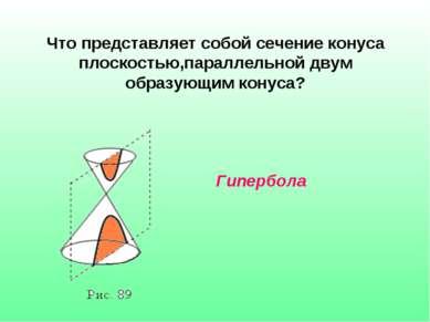 Что представляет собой сечение конуса плоскостью,параллельной двум образующим...