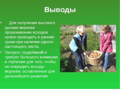 Выводы Для получения высокого урожая моркови прореживание всходов нужно прово...