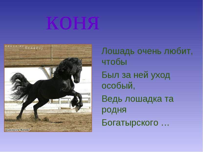 коня Лошадь очень любит, чтобы Был за ней уход особый, Ведь лошадка та родня ...