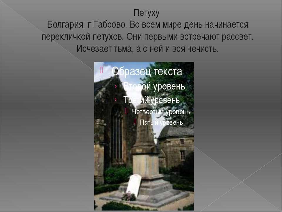 Петуху Болгария, г.Габрово. Во всем мире день начинается перекличкой петухов....