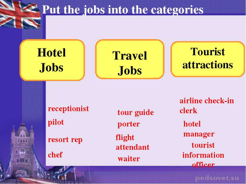 Put the jobs into the categories receptionist pilot resort rep chef tour guid...