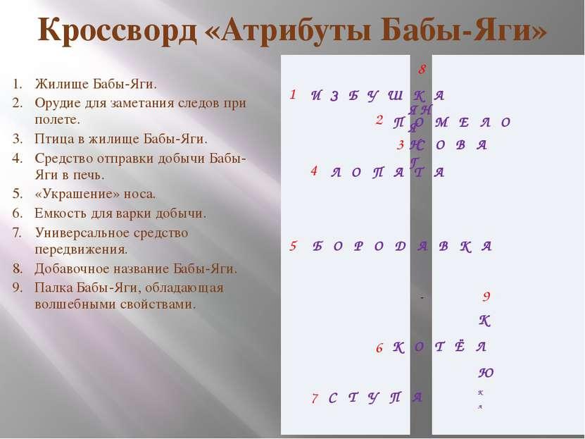 Кроссворд «Атрибуты Бабы-Яги» Жилище Бабы-Яги. Орудие для заметания следов пр...
