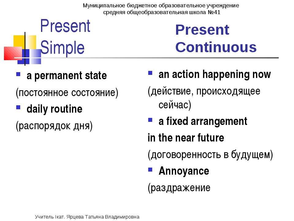 Present Simple Present Continuous a permanent state (постоянное состояние) da...