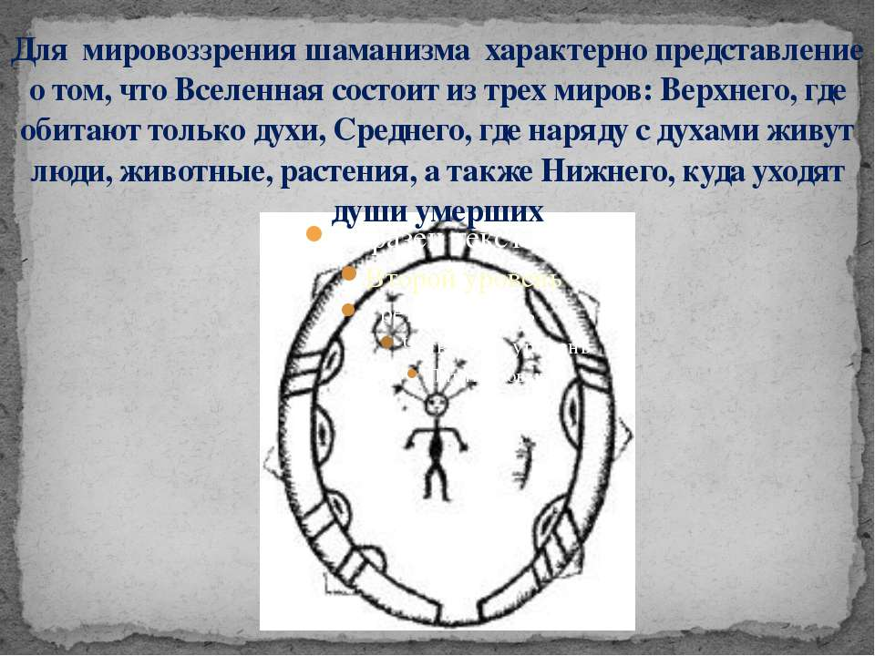 Для мировоззрения шаманизма характерно представление о том, что Вселенная сос...